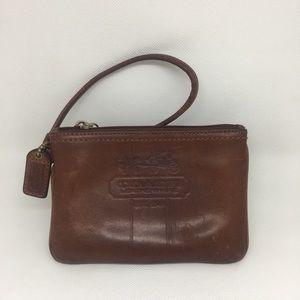 Tobacco Brown Leather Coach Wristlet